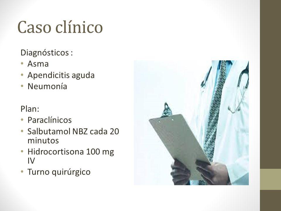 Caso clínico Diagnósticos : Asma Apendicitis aguda Neumonía Plan: Paraclínicos Salbutamol NBZ cada 20 minutos Hidrocortisona 100 mg IV Turno quirúrgic