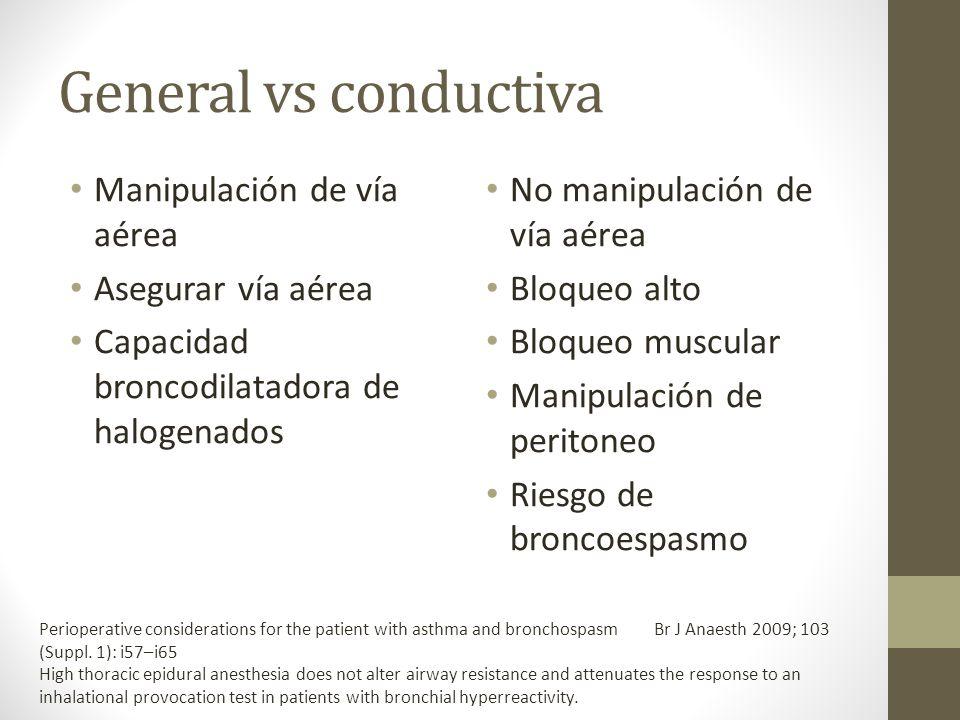 General vs conductiva Manipulación de vía aérea Asegurar vía aérea Capacidad broncodilatadora de halogenados No manipulación de vía aérea Bloqueo alto
