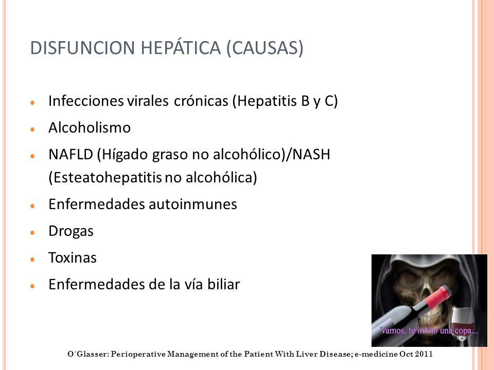 DISFUNCION HEPÁTICA (CAUSAS) Infecciones virales crónicas (Hepatitis B y C) Alcoholismo NAFLD (Hígado graso no alcohólico)/NASH (Esteatohepatitis no a