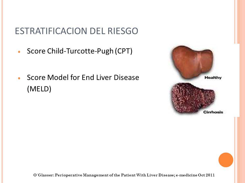 ESTRATIFICACION DEL RIESGO Score Child-Turcotte-Pugh (CPT) Score Model for End Liver Disease (MELD) O´Glasser: Perioperative Management of the Patient