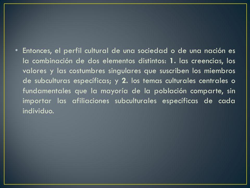 Entonces, el perfil cultural de una sociedad o de una nación es la combinación de dos elementos distintos: 1.