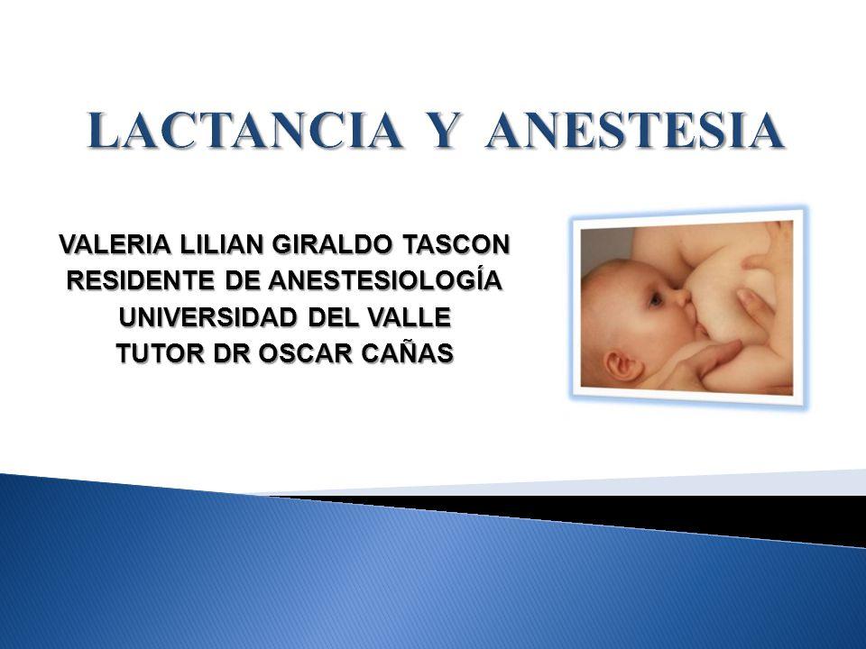 VALERIA LILIAN GIRALDO TASCON RESIDENTE DE ANESTESIOLOGÍA UNIVERSIDAD DEL VALLE TUTOR DR OSCAR CAÑAS