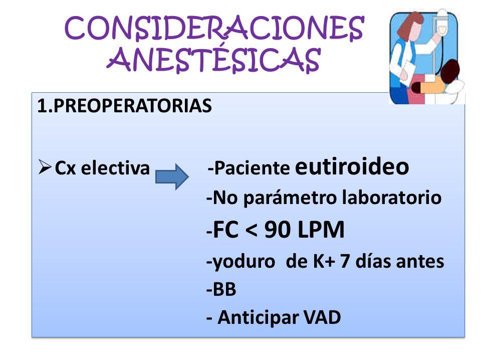 CONSIDERACIONES ANESTÉSICAS 1.PREOPERATORIAS Cx electiva -Paciente eutiroideo -No parámetro laboratorio - FC < 90 LPM -yoduro de K+ 7 días antes -BB -