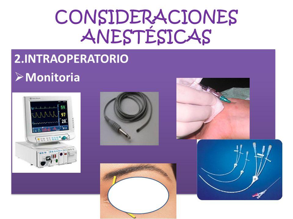 CONSIDERACIONES ANESTÉSICAS 2.INTRAOPERATORIO Monitoria 2.INTRAOPERATORIO Monitoria