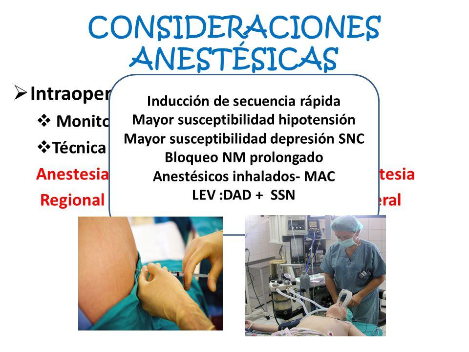 CONSIDERACIONES ANESTÉSICAS Intraoperatorio: Monitorización Técnica anestésica: Anestesia Regional General Inducción de secuencia rápida Mayor suscept