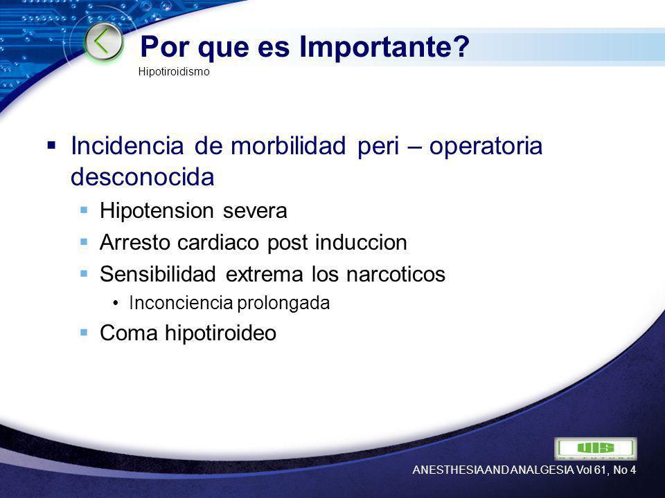 LOGO Por que es Importante? Incidencia de morbilidad peri – operatoria desconocida Hipotension severa Arresto cardiaco post induccion Sensibilidad ext