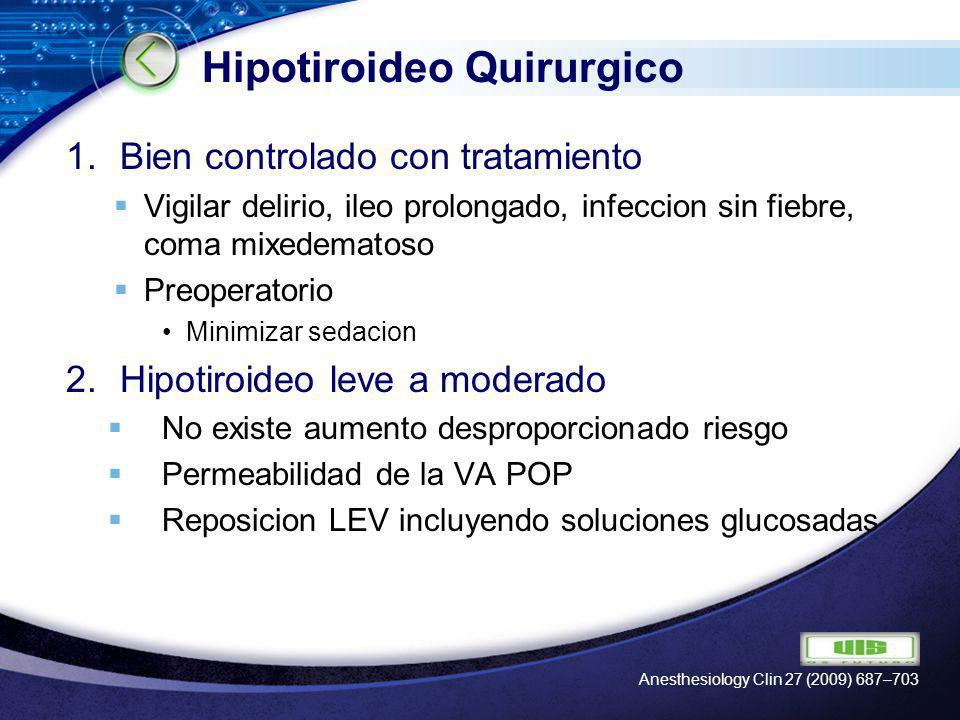 LOGO Hipotiroideo Quirurgico 1.Bien controlado con tratamiento Vigilar delirio, ileo prolongado, infeccion sin fiebre, coma mixedematoso Preoperatorio