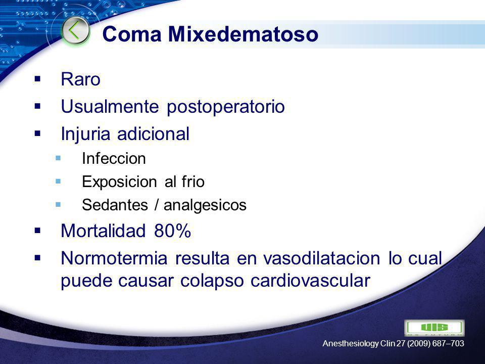 LOGO Coma Mixedematoso Raro Usualmente postoperatorio Injuria adicional Infeccion Exposicion al frio Sedantes / analgesicos Mortalidad 80% Normotermia