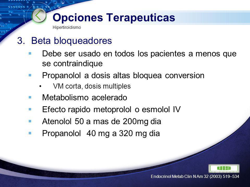 LOGO Opciones Terapeuticas 3.Beta bloqueadores Debe ser usado en todos los pacientes a menos que se contraindique Propanolol a dosis altas bloquea con