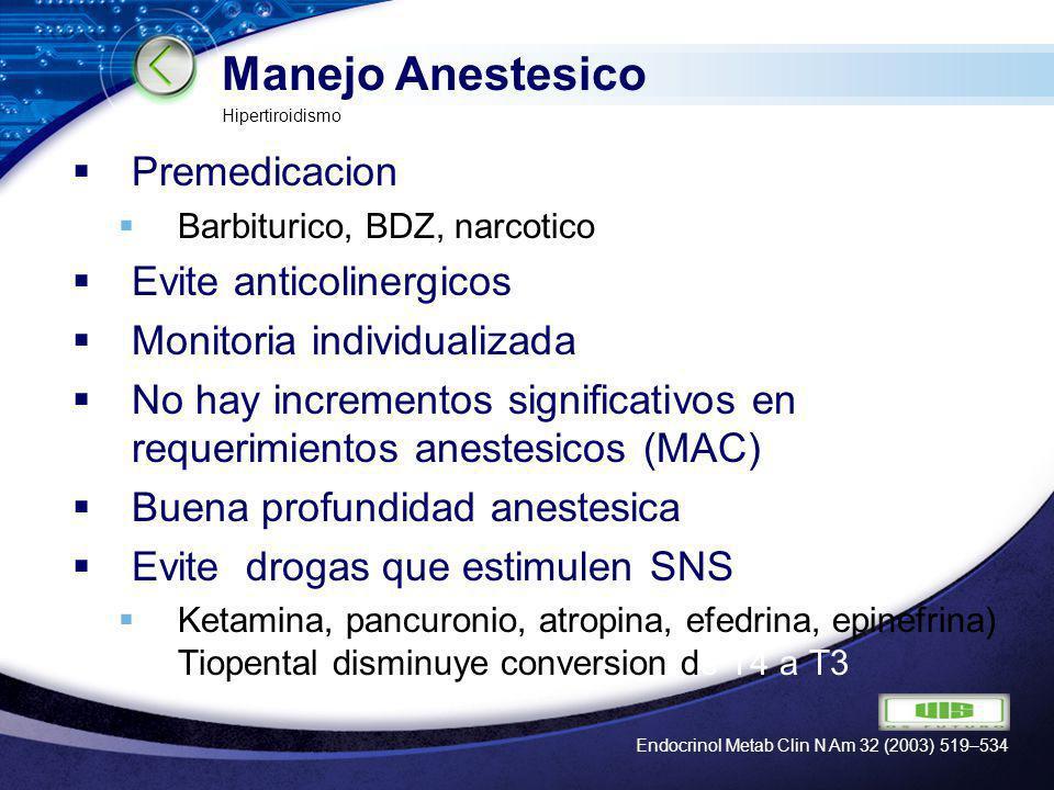 LOGO Manejo Anestesico Premedicacion Barbiturico, BDZ, narcotico Evite anticolinergicos Monitoria individualizada No hay incrementos significativos en