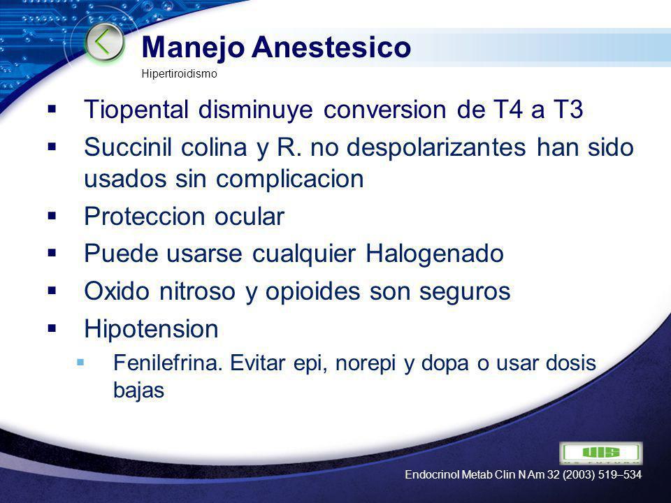 LOGO Manejo Anestesico Tiopental disminuye conversion de T4 a T3 Succinil colina y R. no despolarizantes han sido usados sin complicacion Proteccion o