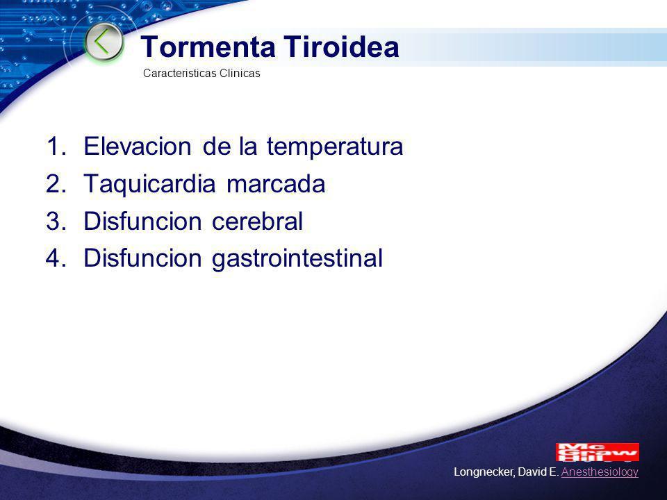 LOGO Tormenta Tiroidea 1.Elevacion de la temperatura 2.Taquicardia marcada 3.Disfuncion cerebral 4.Disfuncion gastrointestinal Caracteristicas Clinica