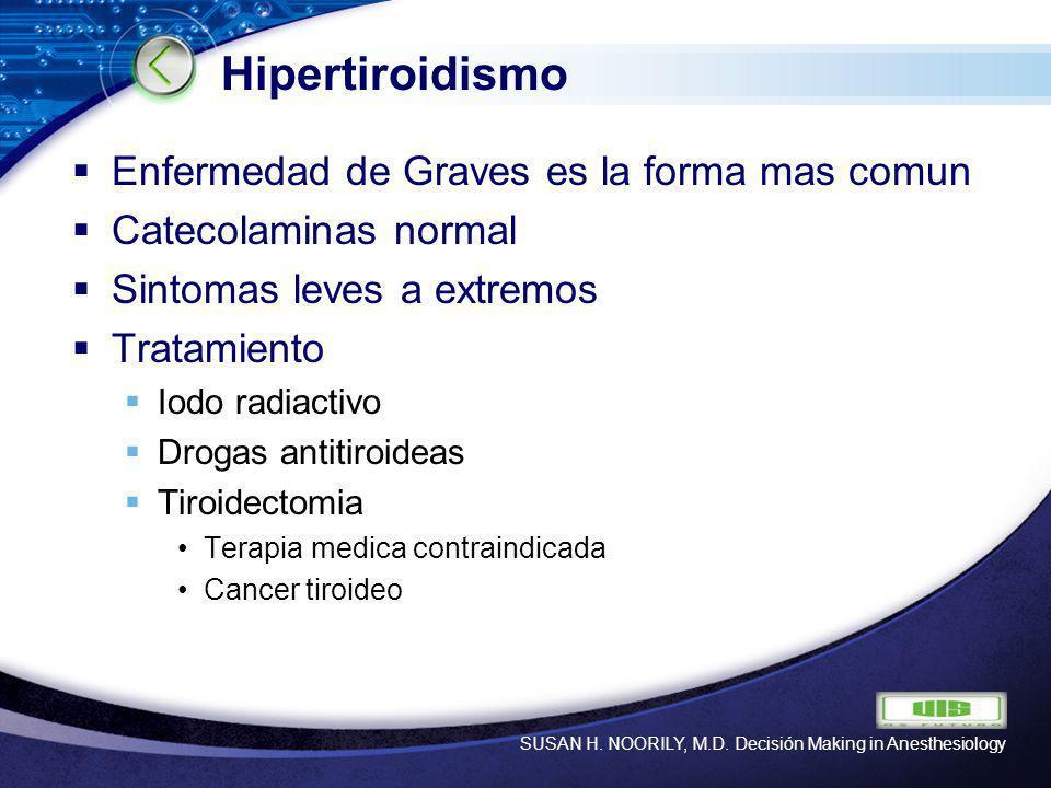 LOGO Hipertiroidismo Enfermedad de Graves es la forma mas comun Catecolaminas normal Sintomas leves a extremos Tratamiento Iodo radiactivo Drogas anti