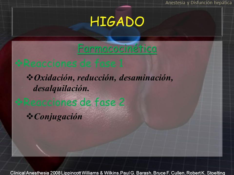 HIGADO Farmacocinética Reacciones de fase 1 Oxidación, reducción, desaminación, desalquilación. Reacciones de fase 2 ConjugaciónFarmacocinética Reacci