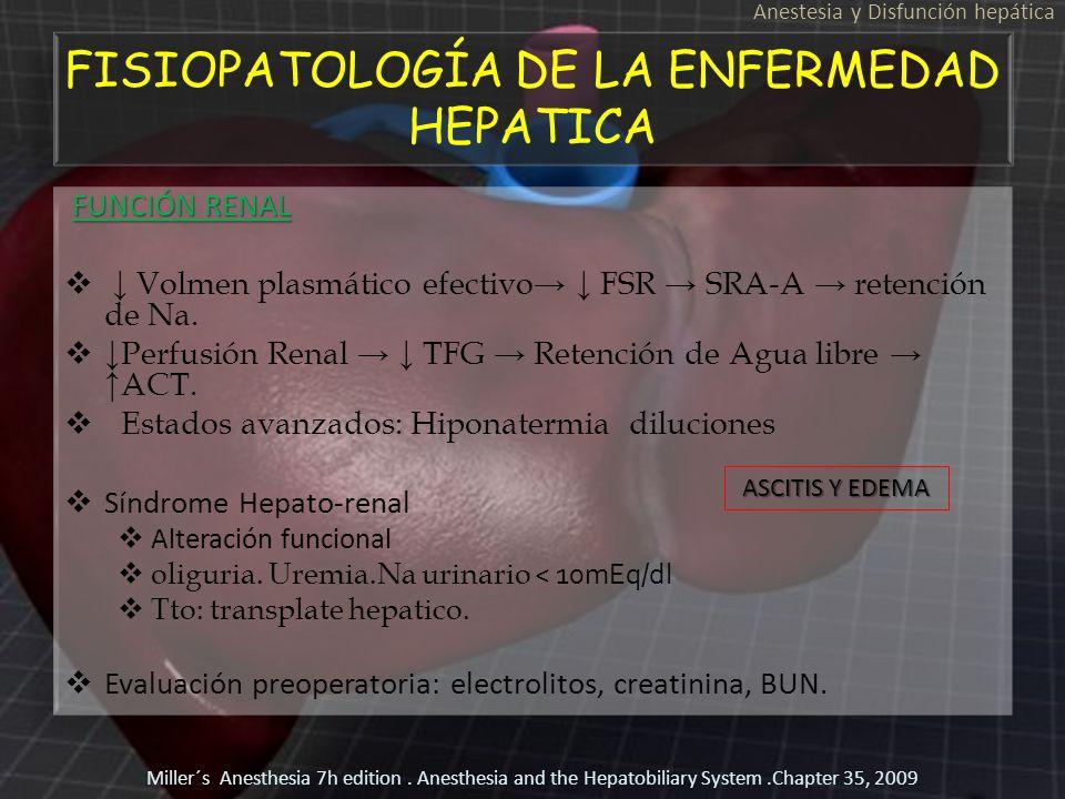 FISIOPATOLOGÍA DE LA ENFERMEDAD HEPATICA FUNCIÓN RENAL FUNCIÓN RENAL Volmen plasmático efectivo FSR SRA-A retención de Na. Perfusión Renal TFG Retenci