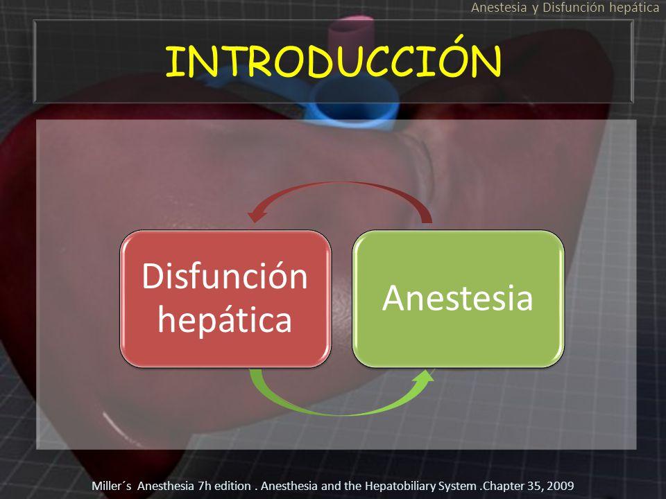 INTRODUCCIÓN Anestesia y Disfunción hepática Miller´s Anesthesia 7h edition. Anesthesia and the Hepatobiliary System.Chapter 35, 2009 Disfunción hepát