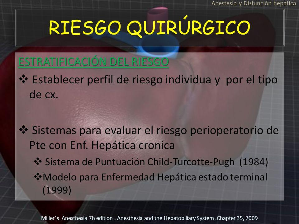 RIESGO QUIRÚRGICO ESTRATIFICACIÓN DEL RIESGO Establecer perfil de riesgo individua y por el tipo de cx. Sistemas para evaluar el riesgo perioperatorio