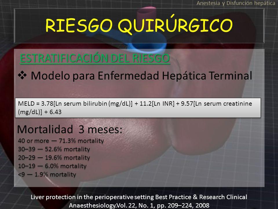 RIESGO QUIRÚRGICO ESTRATIFICACIÓN DEL RIESGO ESTRATIFICACIÓN DEL RIESGO Modelo para Enfermedad Hepática Terminal Mortalidad 3 meses: ESTRATIFICACIÓN D