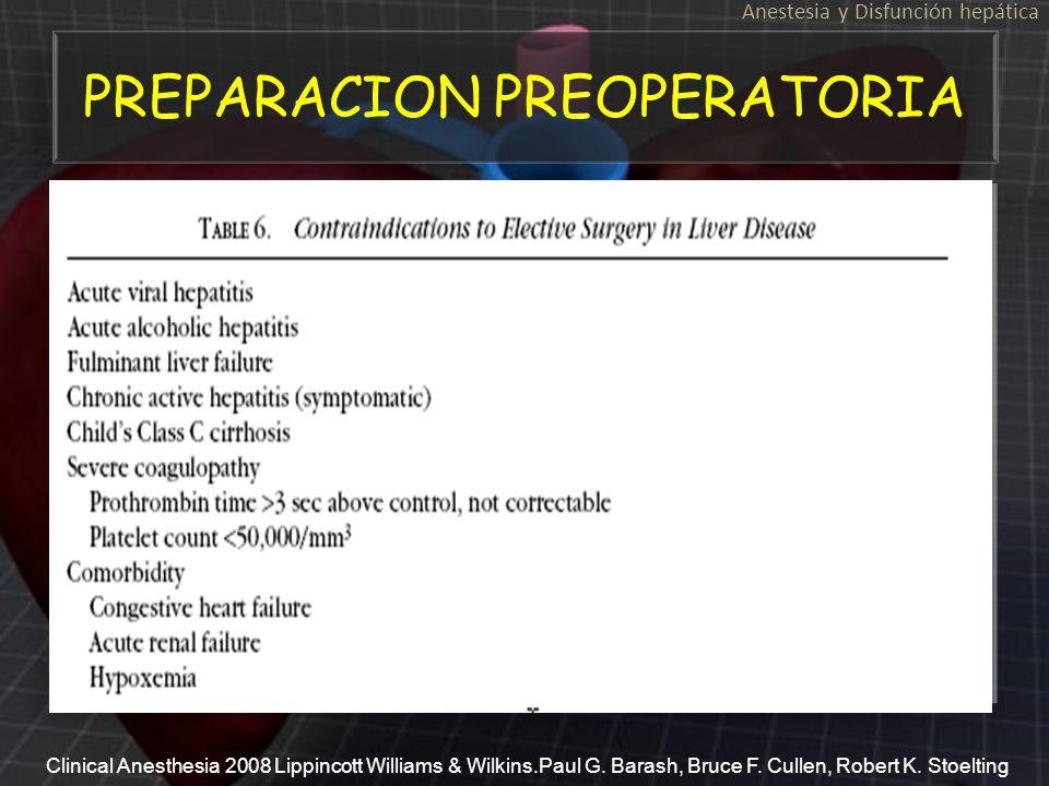 PREPARACION PREOPERATORIA A A Anestesia y Disfunción hepática Clinical Anesthesia 2008 Lippincott Williams & Wilkins.Paul G. Barash, Bruce F. Cullen,