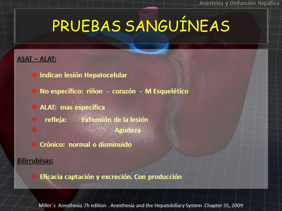 PRUEBAS SANGUÍNEAS ASAT – ALAT: Indican lesión Hepatocelular No específico: riñon - corazón - M Esquelético ALAT: mas específica refleja: Extensión de