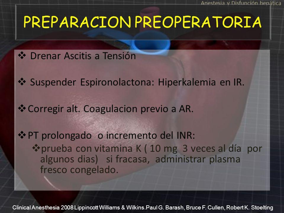 Drenar Ascitis a Tensión Suspender Espironolactona: Hiperkalemia en IR. Corregir alt. Coagulacion previo a AR. PT prolongado o incremento del INR: pru