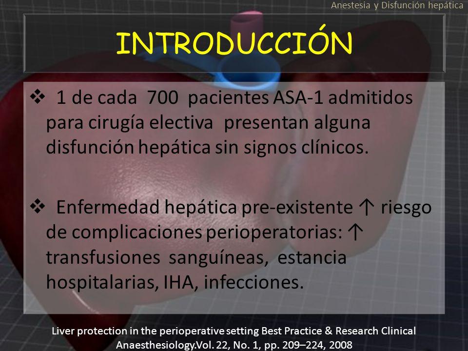 INTRODUCCIÓN 1 de cada 700 pacientes ASA-1 admitidos para cirugía electiva presentan alguna disfunción hepática sin signos clínicos. Enfermedad hepáti