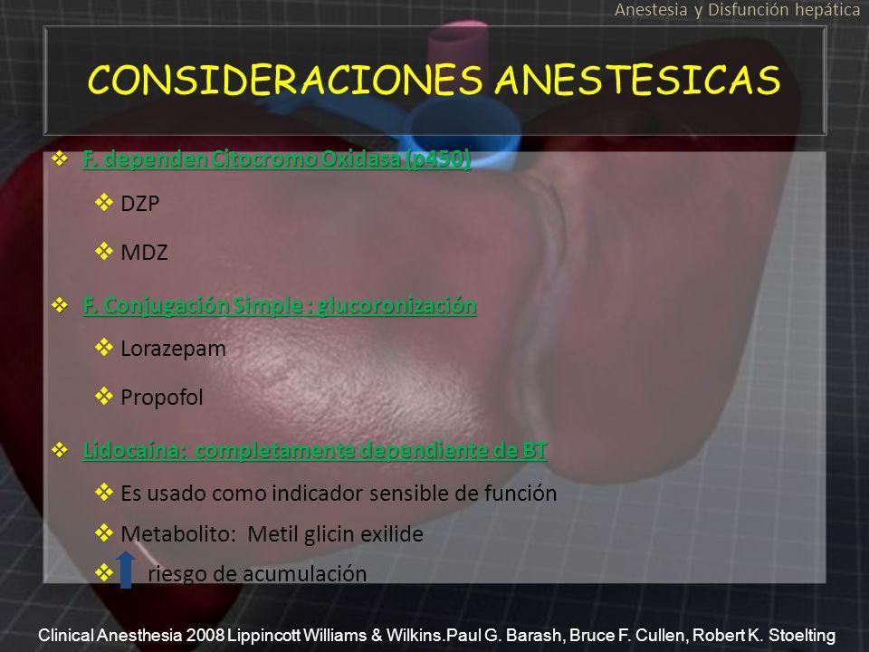CONSIDERACIONES ANESTESICAS Anestesia y Disfunción hepática F. dependen Citocromo Oxidasa (p450) F. dependen Citocromo Oxidasa (p450) DZP MDZ F. Conju