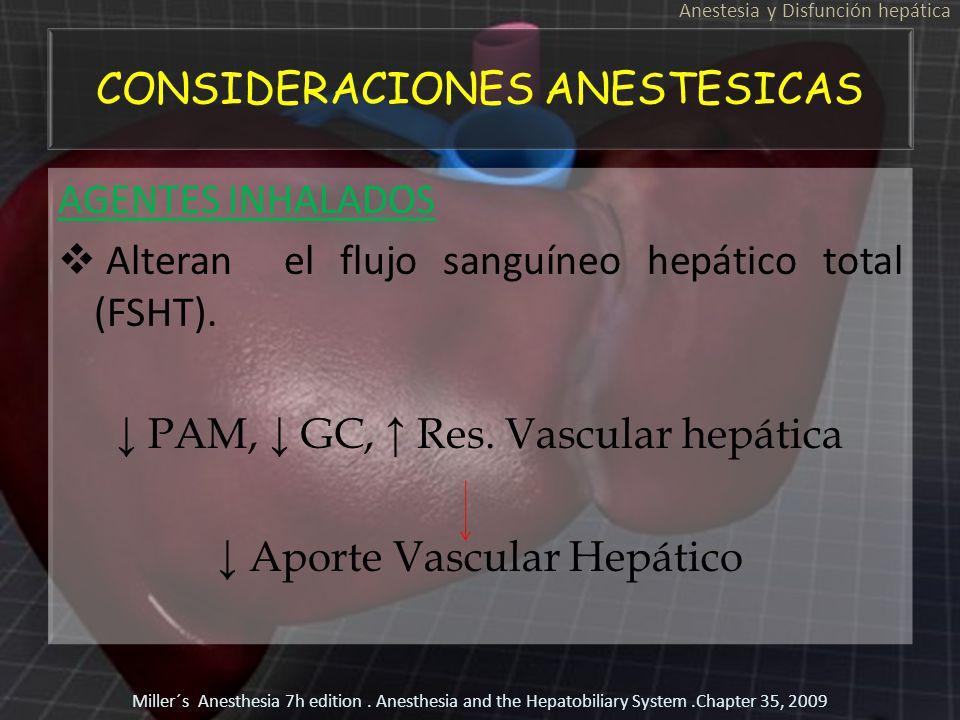 CONSIDERACIONES ANESTESICAS AGENTES INHALADOS Alteran el flujo sanguíneo hepático total (FSHT). PAM, GC, Res. Vascular hepática Aporte Vascular Hepáti