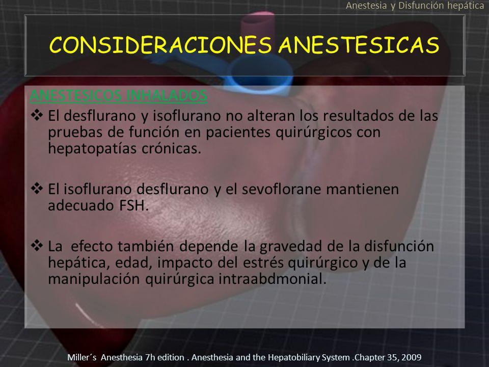 CONSIDERACIONES ANESTESICAS ANESTESICOS INHALADOS El desflurano y isoflurano no alteran los resultados de las pruebas de función en pacientes quirúrgi