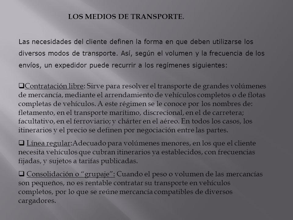 LOS MEDIOS DE TRANSPORTE. Contratación libre: Sirve para resolver el transporte de grandes volúmenes de mercancía, mediante el arrendamiento de vehícu