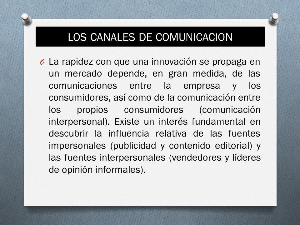 LOS CANALES DE COMUNICACION O La rapidez con que una innovación se propaga en un mercado depende, en gran medida, de las comunicaciones entre la empre