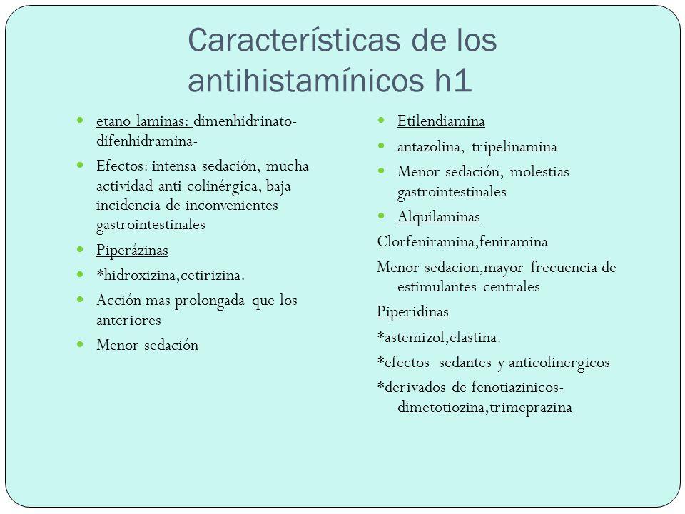 Farmacocinética *se absorben por vía oral, biodisponibilidad, menor al 50%, concentración plasmática máxima es de 2 a 3 hs *ACCIONES TERAPEUTICAS *procesos alérgicos :rinitis, conjuntivitis alérgicas, urticarias, dermatitis atopicas,angioedema.