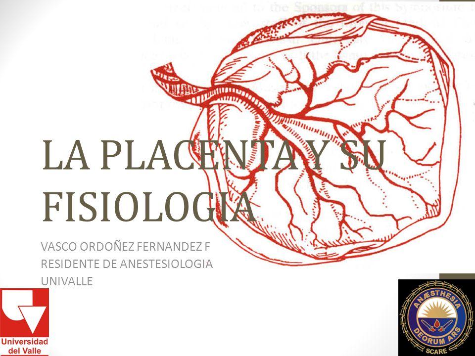 LA PLACENTA Y SU FISIOLOGIA VASCO ORDOÑEZ FERNANDEZ F RESIDENTE DE ANESTESIOLOGIA UNIVALLE