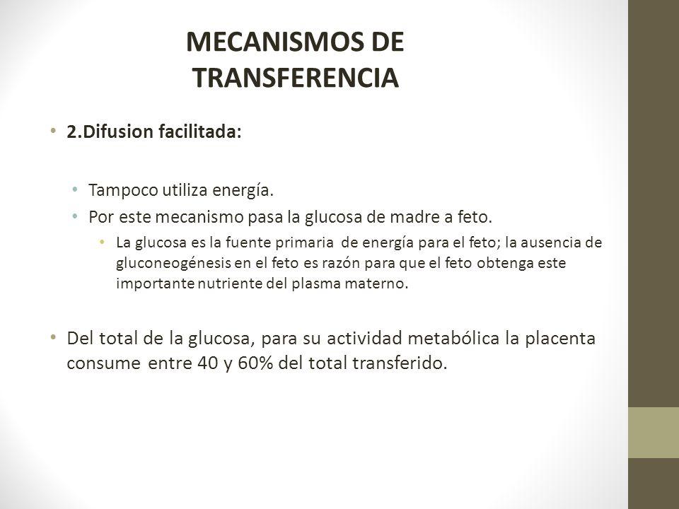 2.Difusion facilitada: Tampoco utiliza energía. Por este mecanismo pasa la glucosa de madre a feto. La glucosa es la fuente primaria de energía para e