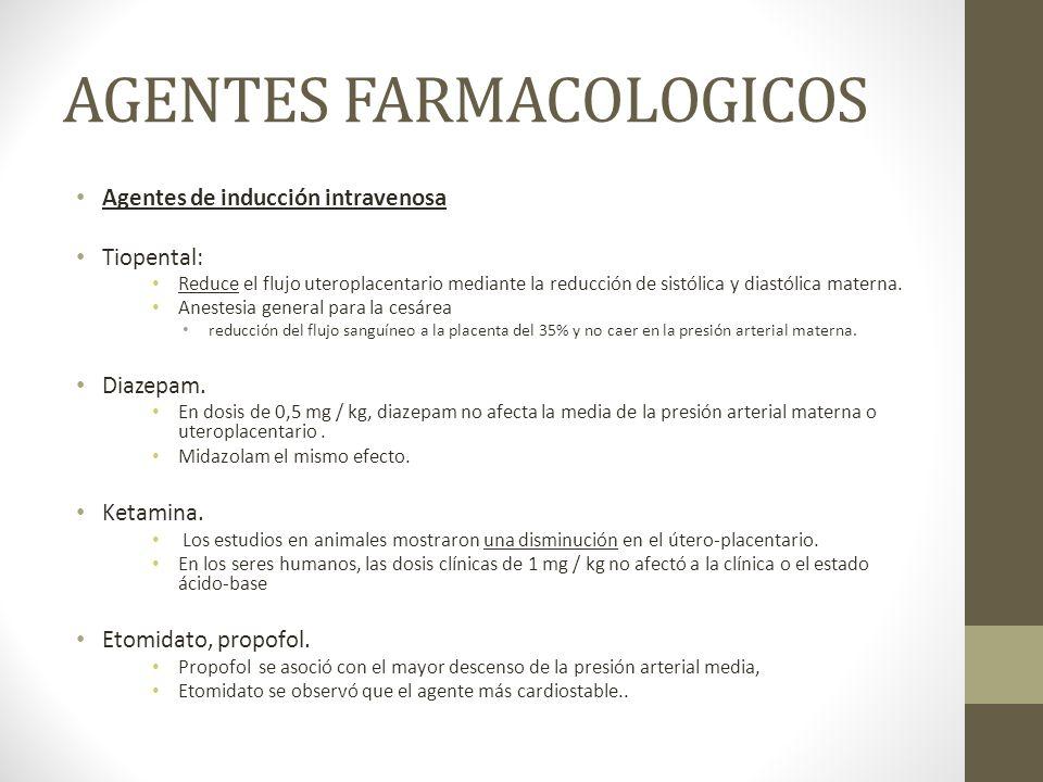 AGENTES FARMACOLOGICOS Agentes de inducción intravenosa Tiopental: Reduce el flujo uteroplacentario mediante la reducción de sistólica y diastólica ma