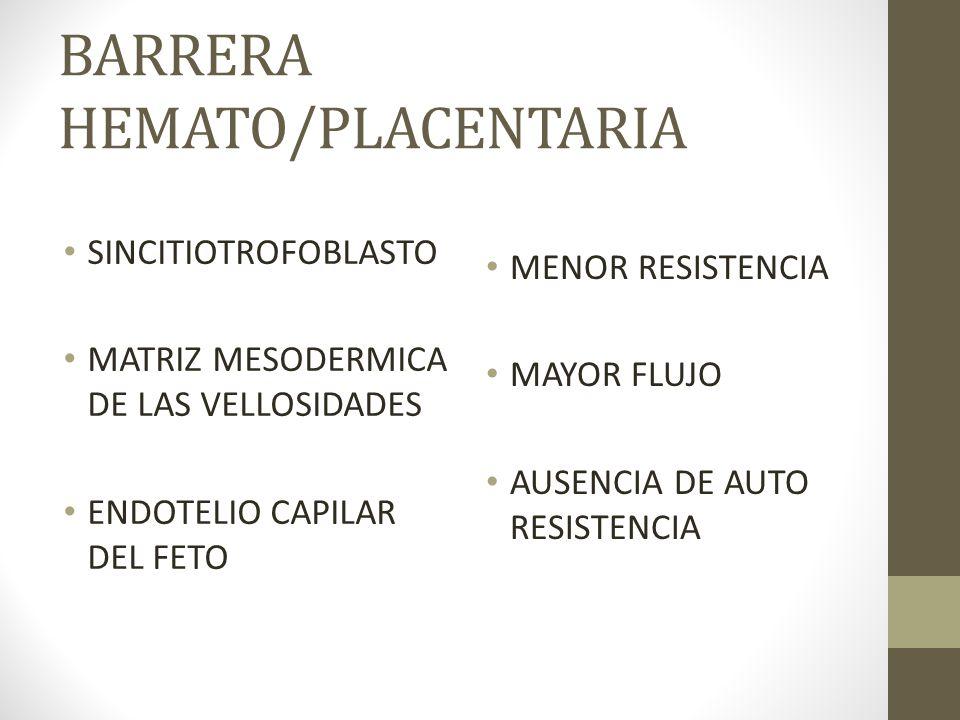 BARRERA HEMATO/PLACENTARIA SINCITIOTROFOBLASTO MATRIZ MESODERMICA DE LAS VELLOSIDADES ENDOTELIO CAPILAR DEL FETO MENOR RESISTENCIA MAYOR FLUJO AUSENCI