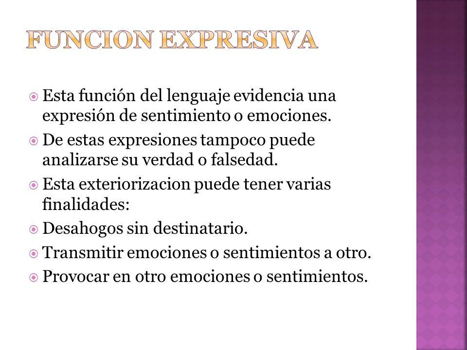 Esta función del lenguaje evidencia una expresión de sentimiento o emociones.