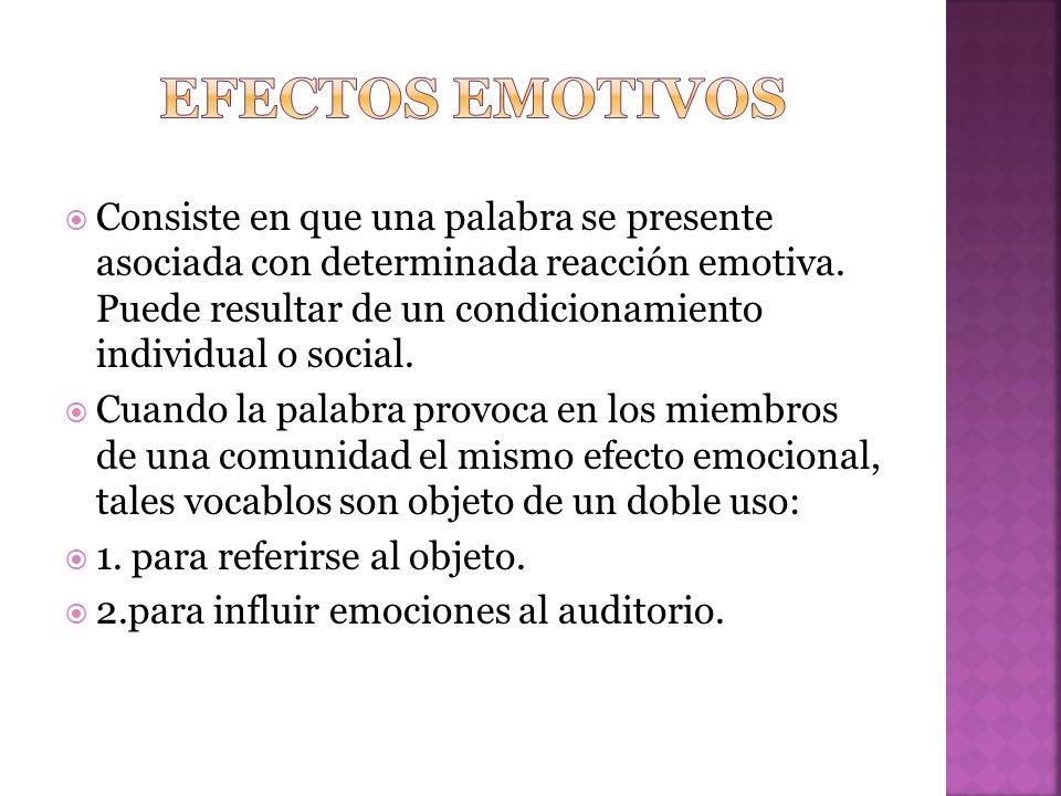Consiste en que una palabra se presente asociada con determinada reacción emotiva.
