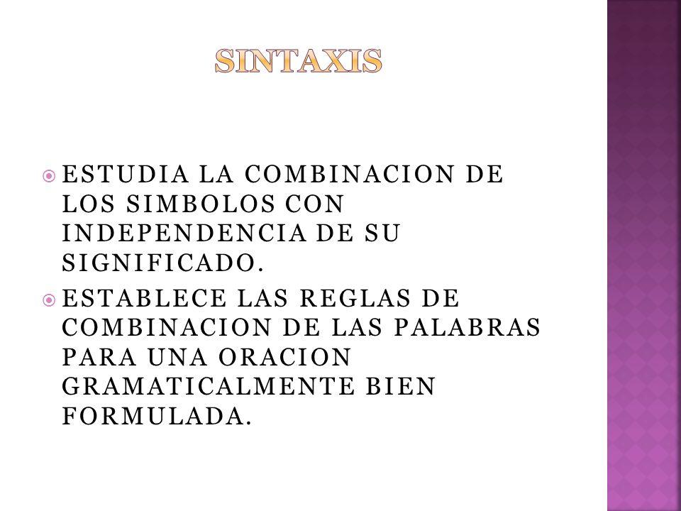 ESTUDIA LA COMBINACION DE LOS SIMBOLOS CON INDEPENDENCIA DE SU SIGNIFICADO.