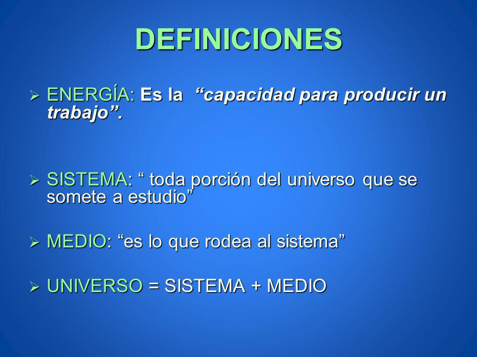 DEFINICIONES ENERGÍA: Es la capacidad para producir un trabajo. ENERGÍA: Es la capacidad para producir un trabajo. SISTEMA: toda porción del universo