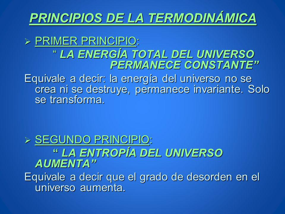 PRINCIPIOS DE LA TERMODINÁMICA PRIMER PRINCIPIO: PRIMER PRINCIPIO: LA ENERGÍA TOTAL DEL UNIVERSO PERMANECE CONSTANTE LA ENERGÍA TOTAL DEL UNIVERSO PER