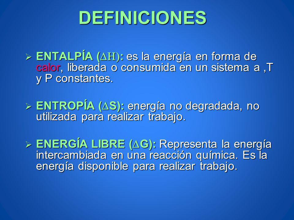 ENTALPÍA ( : es la energía en forma de calor, liberada o consumida en un sistema a,T y P constantes. ENTALPÍA ( : es la energía en forma de calor, lib