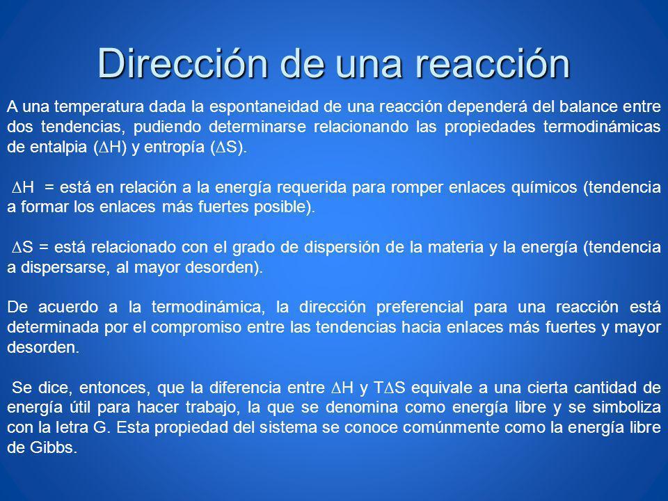 Dirección de una reacción A una temperatura dada la espontaneidad de una reacción dependerá del balance entre dos tendencias, pudiendo determinarse re