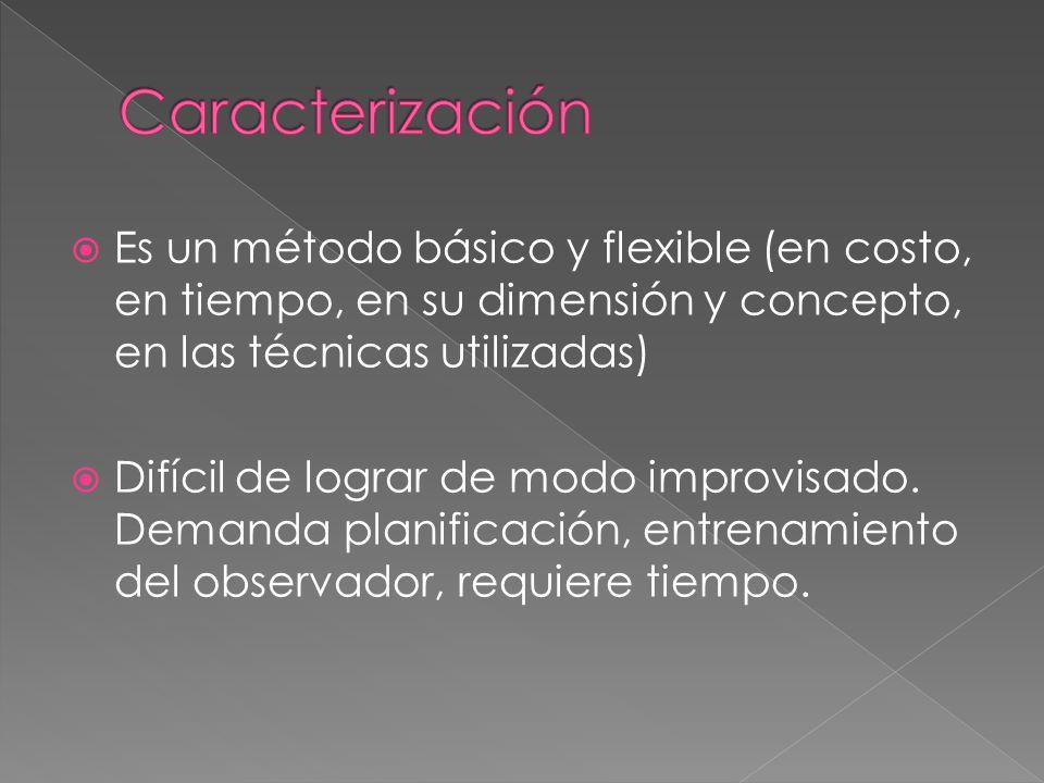Es un método básico y flexible (en costo, en tiempo, en su dimensión y concepto, en las técnicas utilizadas) Difícil de lograr de modo improvisado.