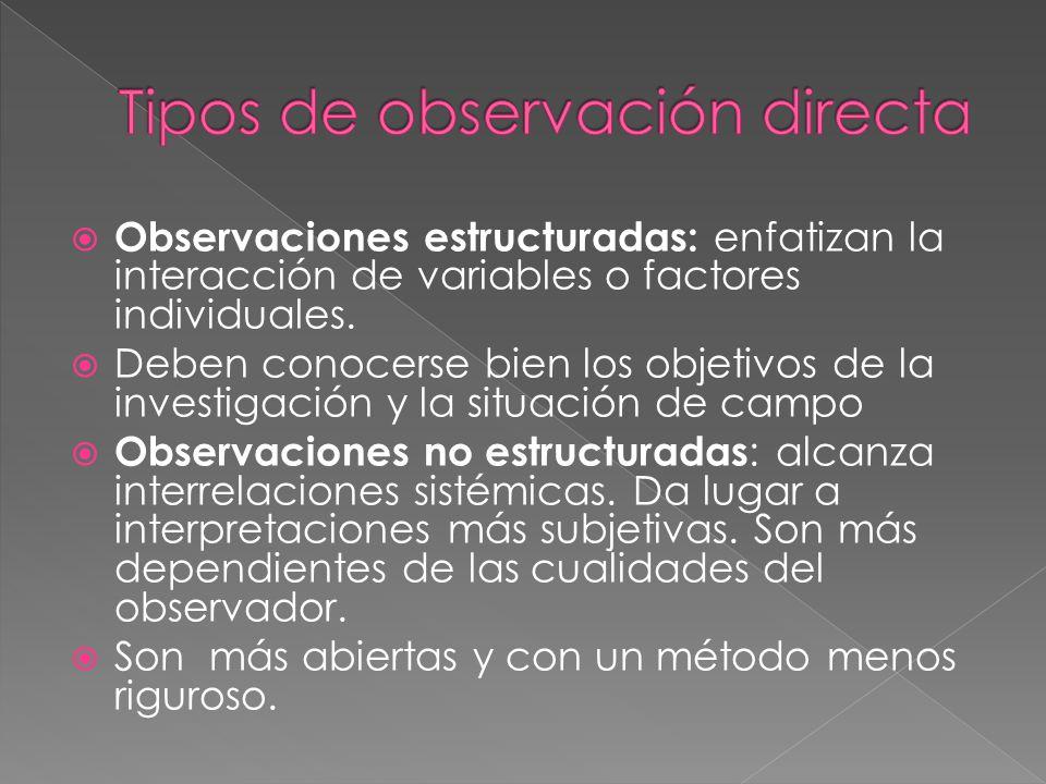 Observaciones estructuradas: enfatizan la interacción de variables o factores individuales.