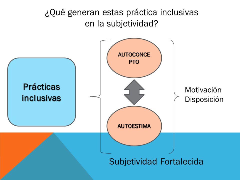 ¿Qué generan estas práctica inclusivas en la subjetividad.
