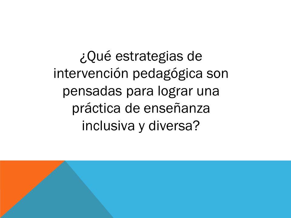 ¿Qué estrategias de intervención pedagógica son pensadas para lograr una práctica de enseñanza inclusiva y diversa?