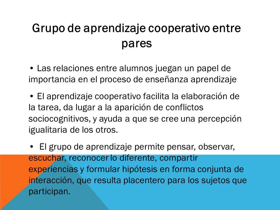 Grupo de aprendizaje cooperativo entre pares Las relaciones entre alumnos juegan un papel de importancia en el proceso de enseñanza aprendizaje El aprendizaje cooperativo facilita la elaboración de la tarea, da lugar a la aparición de conflictos sociocognitivos, y ayuda a que se cree una percepción igualitaria de los otros.