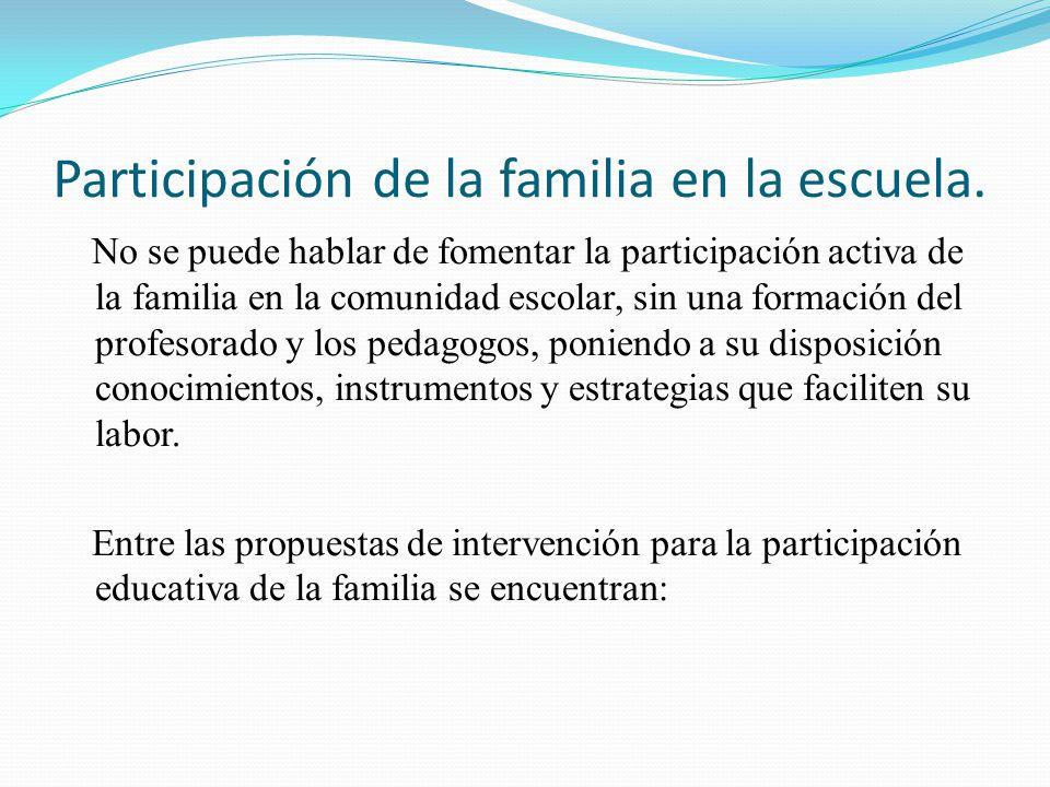 Participación de la familia en la escuela. No se puede hablar de fomentar la participación activa de la familia en la comunidad escolar, sin una forma
