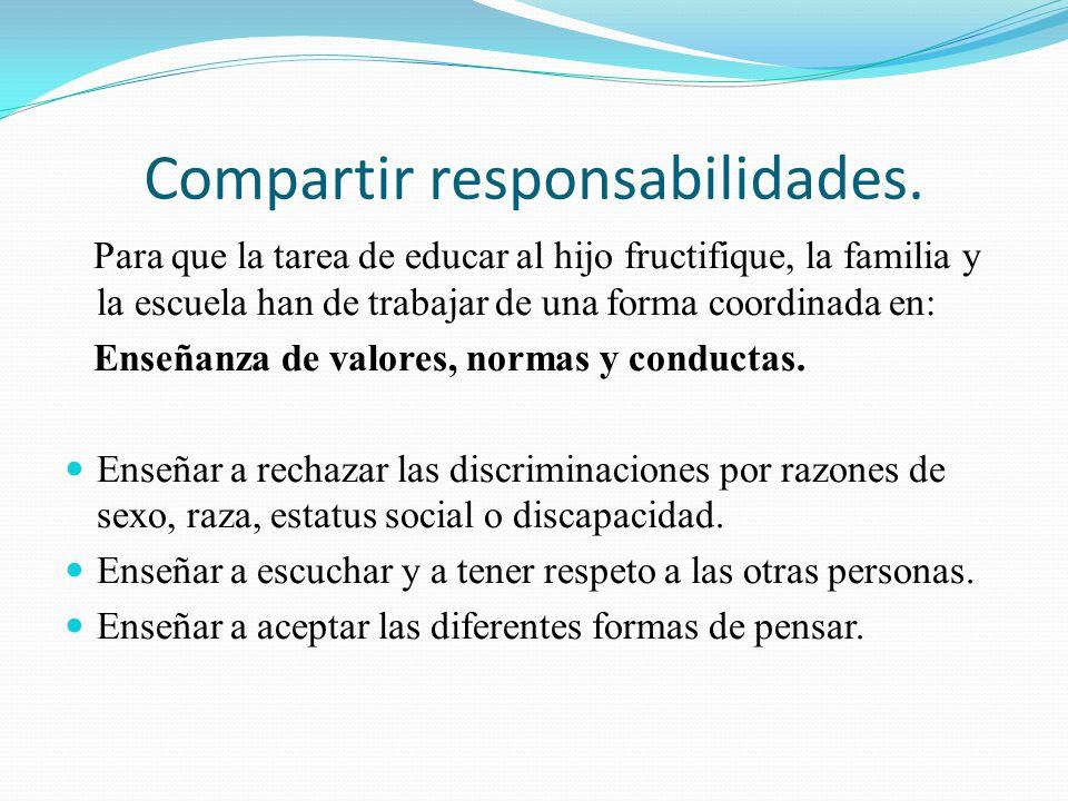 Compartir responsabilidades. Para que la tarea de educar al hijo fructifique, la familia y la escuela han de trabajar de una forma coordinada en: Ense